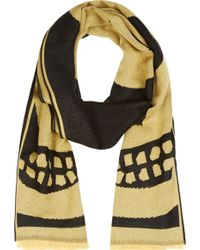 Alexander McQueen Black and Gold Big Skull Scarf - Lyst