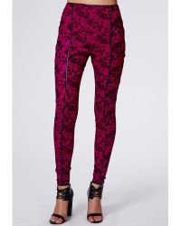 Missguided Hilary Contrast Binding Floral Skinny Trousers - Lyst