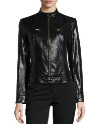 Lafayette 148 New York Lizardembossed Glossy Leather Moto Jacket - Lyst
