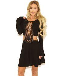 Indah Kiss Hand Crochet Bell Sleeve Dress In Black - Lyst
