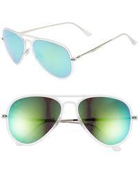 Ray-Ban Women'S 'Tech Light-Ray' 56Mm Aviator Sunglasses - Silver/ Green Mirror - Lyst