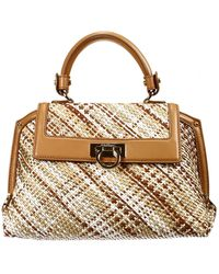 Ferragamo Handbag Bag Sofia 1 Handle Small Multicolor Braided - Lyst