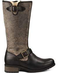 Ugg Ladies Chancery Sheepskin And Leather Boots - Lyst