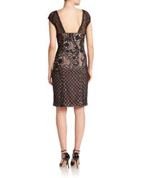 Sue Wong | Embroidered Illusion Sheath Dress | Lyst