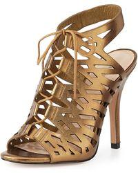 Pour La Victoire Laser-cut Metallic Leather Sandal - Lyst