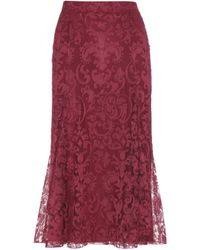 Burberry Prorsum Red Lace Skirt - Lyst