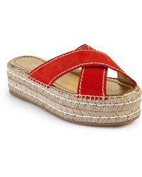 Prada | Suede Double Platform Espadrille Slide Sandals | Lyst