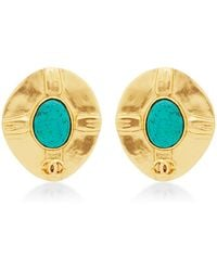 What Goes Around Comes Around Chanel Gold  Turquoise Earrings - Lyst