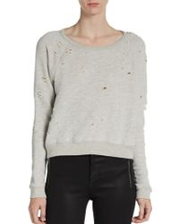 Textile Elizabeth and James Distressed French-Terry Sweatshirt gray - Lyst