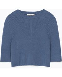 Zara Ribbed Cropped Top - Lyst