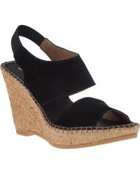 Andre Assous Reese Wedge Sandal Black Suede black - Lyst