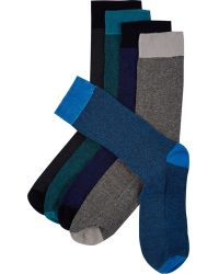 River Island Blue Textured Socks 5 Pack - Lyst