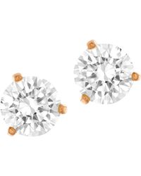 Swarovski Solitaire Crystal And Rose Goldtone Stud Earrings gold - Lyst