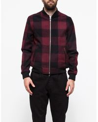 Topman Red Check Wool Bomber Jacket - Lyst