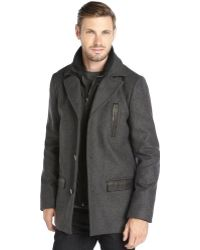 SOIA & KYO Charcoal Leather-Trimmed Inner Bib Button Front Coat - Lyst