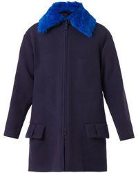 Kenzo Contrastcollar Textured Woolblend Coat - Lyst