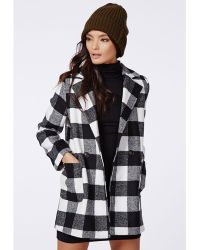 Missguided Lily Lumberjack Coat Black Check - Lyst