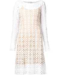 Oscar de la Renta Floral Lace Dress - Lyst