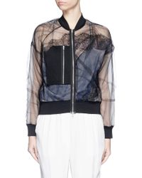 3.1 Phillip Lim | Chantilly Lace Insert Gathered Tulle Bomber Jacket | Lyst