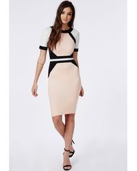 Missguided Crepe Contrast Panel Bodycon Midi Dress Nude - Lyst
