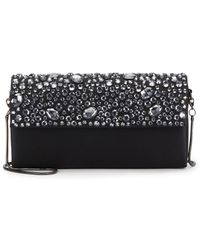 Saks Fifth Avenue Black Label - Embellished Silk Flap Clutch - Lyst