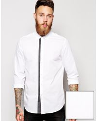 Asos Smart Shirt In Long Sleeve With Polka Dot Trim - Lyst
