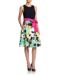 Eliza J Floral Print Skirt Fit And Flare Dress - Lyst