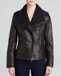 MICHAEL Michael Kors Leather Jacket - Asymmetrical Wing Collar - Lyst