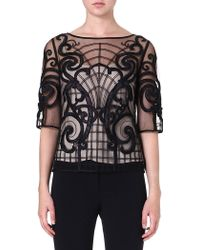 Temperley London Cartroux Sheer Embroidered Top Black Mix - Lyst