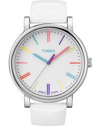 Timex® Women'S Premium Originals Classic White Patent Leather Strap 38Mm T2N791Ab - Lyst