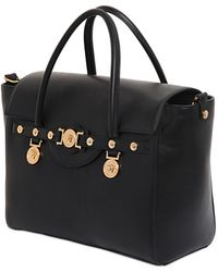 Versace Signature Brushed Leather Top Handle Bag - Lyst