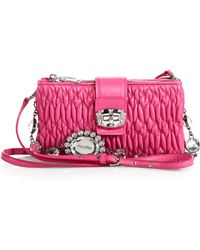 Miu Miu Swarovski-Accented Quilted-Leather Small Crossbody Bag - Lyst