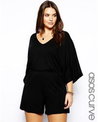 Asos Curve Exclusive Playsuit With Kimono Sleeve black - Lyst