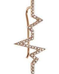 Diane Kordas Heartbeat 18Kt Rose Gold Ear Cuff With White Diamonds pink - Lyst