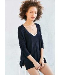 Kimchi Blue - Ribbed Knit Deep V Tunic Sweater - Lyst
