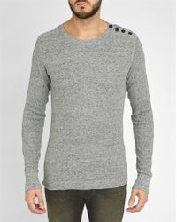 DIESEL | Mottled-grey Round-neck Side-buttons T-shirt | Lyst