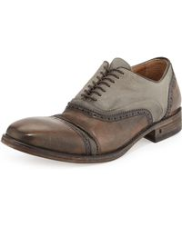 John Varvatos Leather Canvas Doublebal Oxford Tan - Lyst