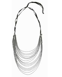 Goti Chain Necklace With Diamonds And Leather - Lyst