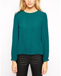 Oasis Frill Pleat Long Sleeve Top - Lyst