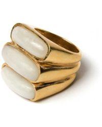 Lizzie Fortunato - Triplet Ring In Pale Aventurine - Lyst
