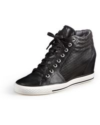 DKNY Cindy Perforated Wedge Sneaker - Lyst