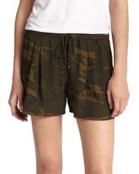 Haute Hippie Silk Camouflage-Print Shorts - Lyst