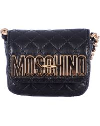 Moschino Black Leather Shoulder Mini Bag - Lyst