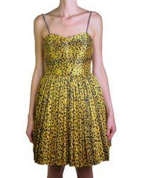 Saint Laurent | Leopard Printed Yellow Dress | Lyst