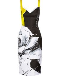 Prabal Gurung Roseprint Satin Midi Dress - Lyst