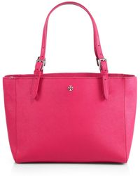 Tory Burch York Small Saffiano-Leather Tote - Lyst