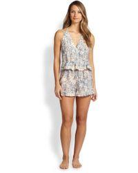 Zimmermann Flounce Cotton  Silk Short Jumpsuit - Lyst