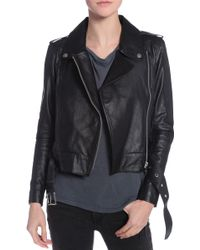 Elliott Label Fringe Biker Leather Jacket - Lyst