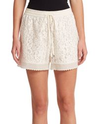 Rebecca Taylor Silk Lace Drawstring Shorts white - Lyst