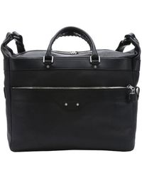 Balenciaga Pre-Owned: Black Leather Weekender Travel Bag black - Lyst